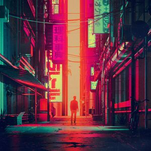Preview wallpaper silhouette, city, street, art, futurism
