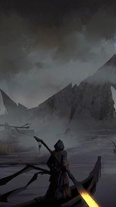 Preview wallpaper silhouette, cloak, boat, river, art, dark