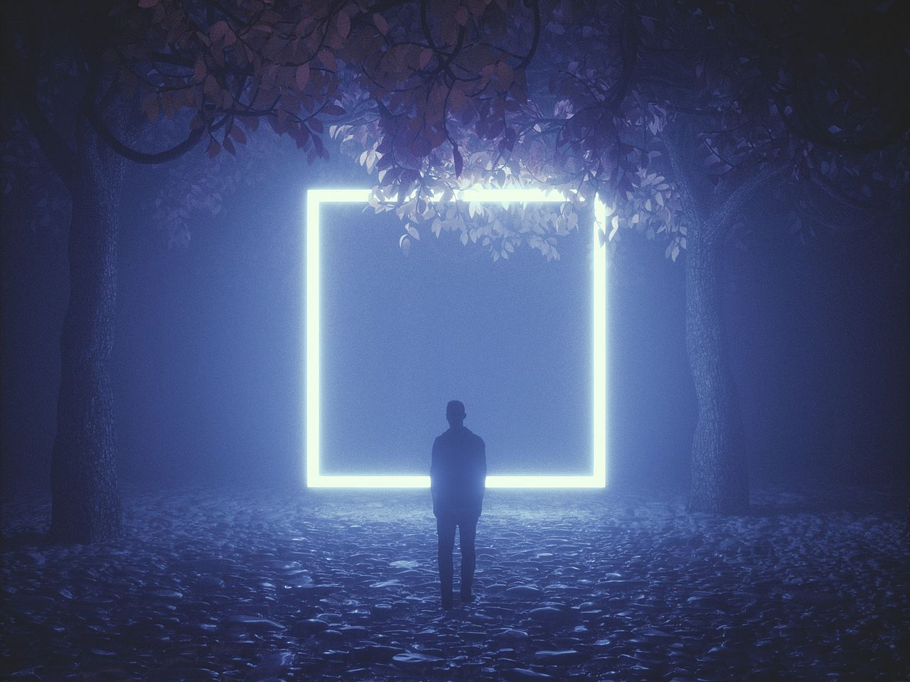 1280x960 Wallpaper silhouette, cube, neon, trees