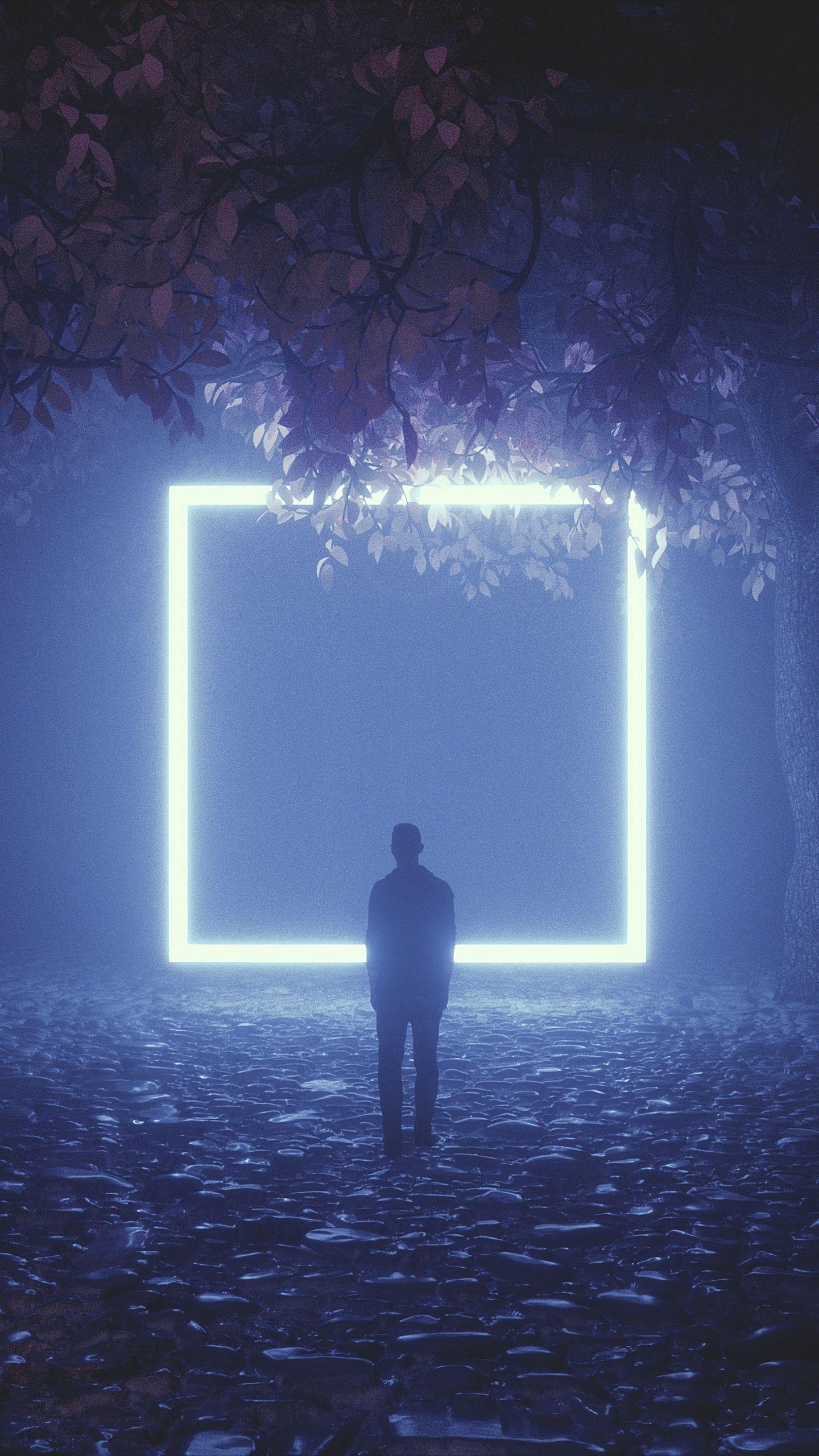 1440x2560 Wallpaper silhouette, cube, neon, trees