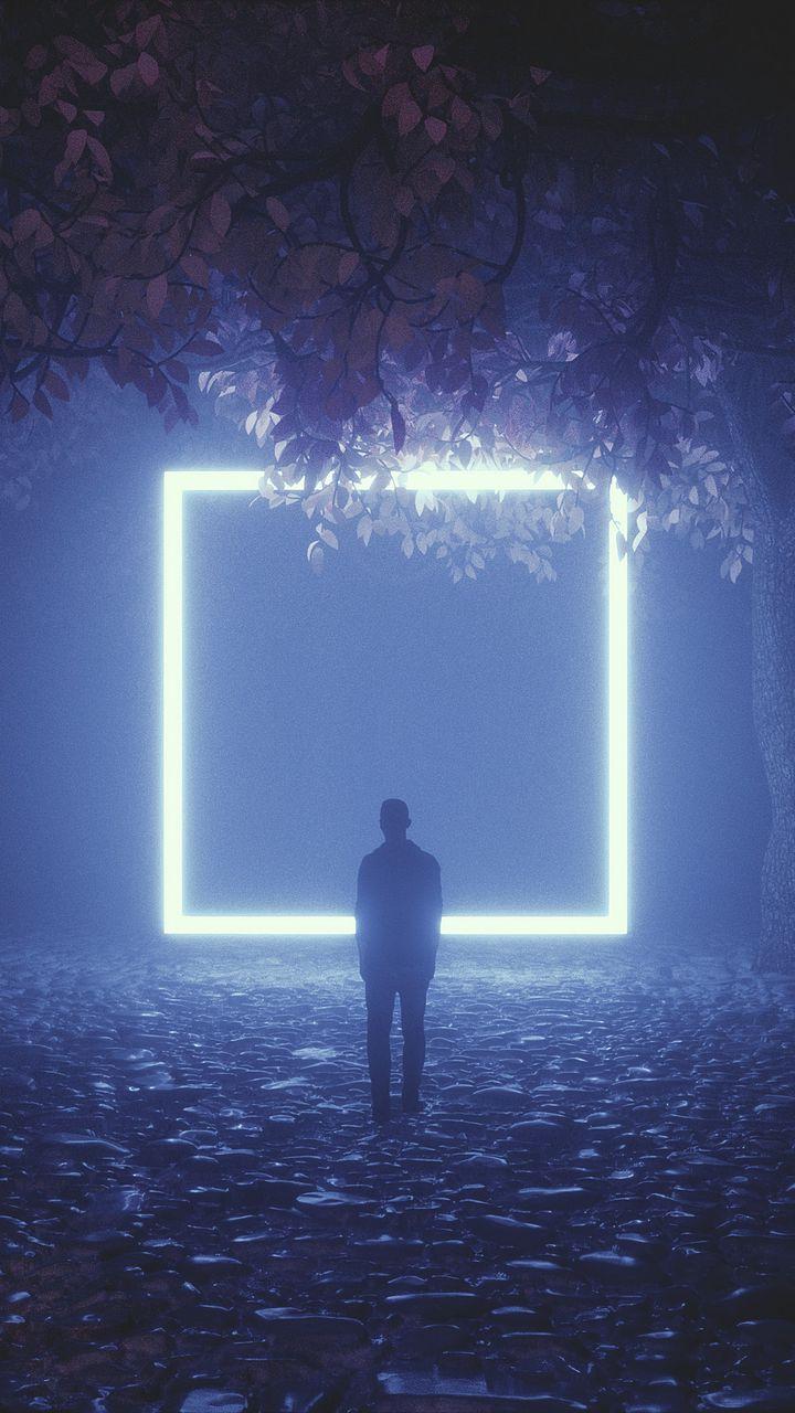 720x1280 Wallpaper silhouette, cube, neon, trees