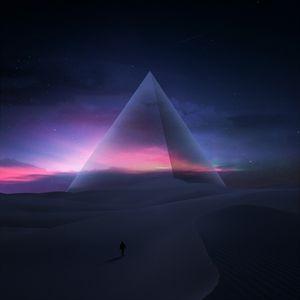 Preview wallpaper silhouette, desert, pyramid, starry sky, stars