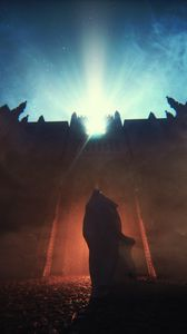Preview wallpaper silhouette, fortress, night, lights, mantle