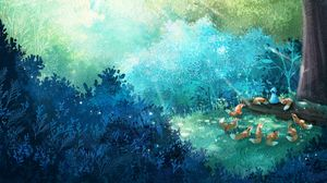 Preview wallpaper fox, forest, art, family