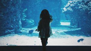 Preview wallpaper child, aquarium, back, dark, touch