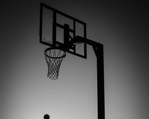 Preview wallpaper silhouette, jump, ball, basketball, sport, black and white