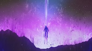 Preview wallpaper silhouette, levitation, glitch, mountains, night