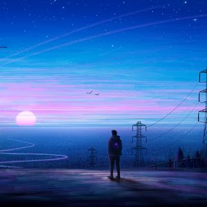 Preview wallpaper silhouette, loneliness, art, horizon, view