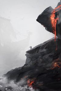 Preview wallpaper silhouette, loneliness, rock, volcano, apocalypse
