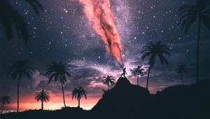 Preview wallpaper silhouette, magic, night, power, starry sky