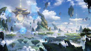 Preview wallpaper silhouette, magician, ruins, rocks, fantasy, art