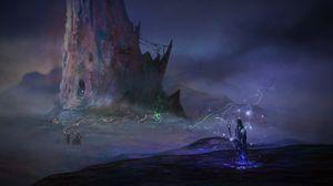 Preview wallpaper silhouette, magician, staff, fantasy, art