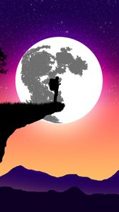Preview wallpaper silhouette, moon, art, vector, cliff, night