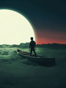 Preview wallpaper silhouette, moon, boat, lonely, loneliness, surrealism