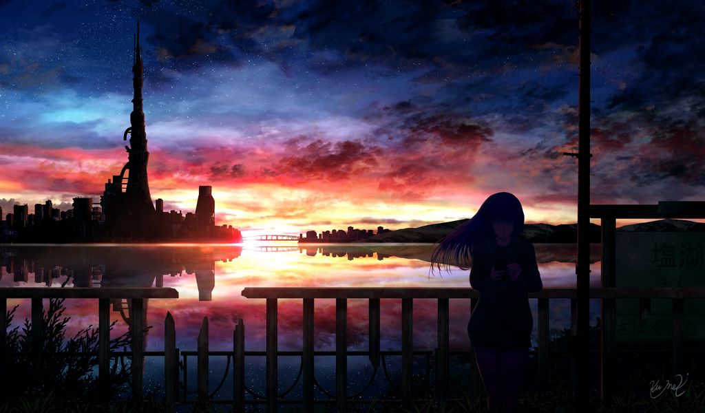 1024x600 Wallpaper silhouette, night, starry sky, girl, anime