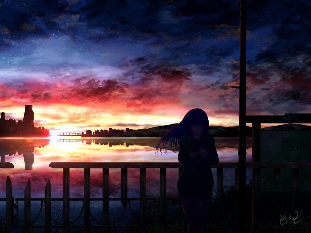 1024x768 Wallpaper silhouette, night, starry sky, girl, anime