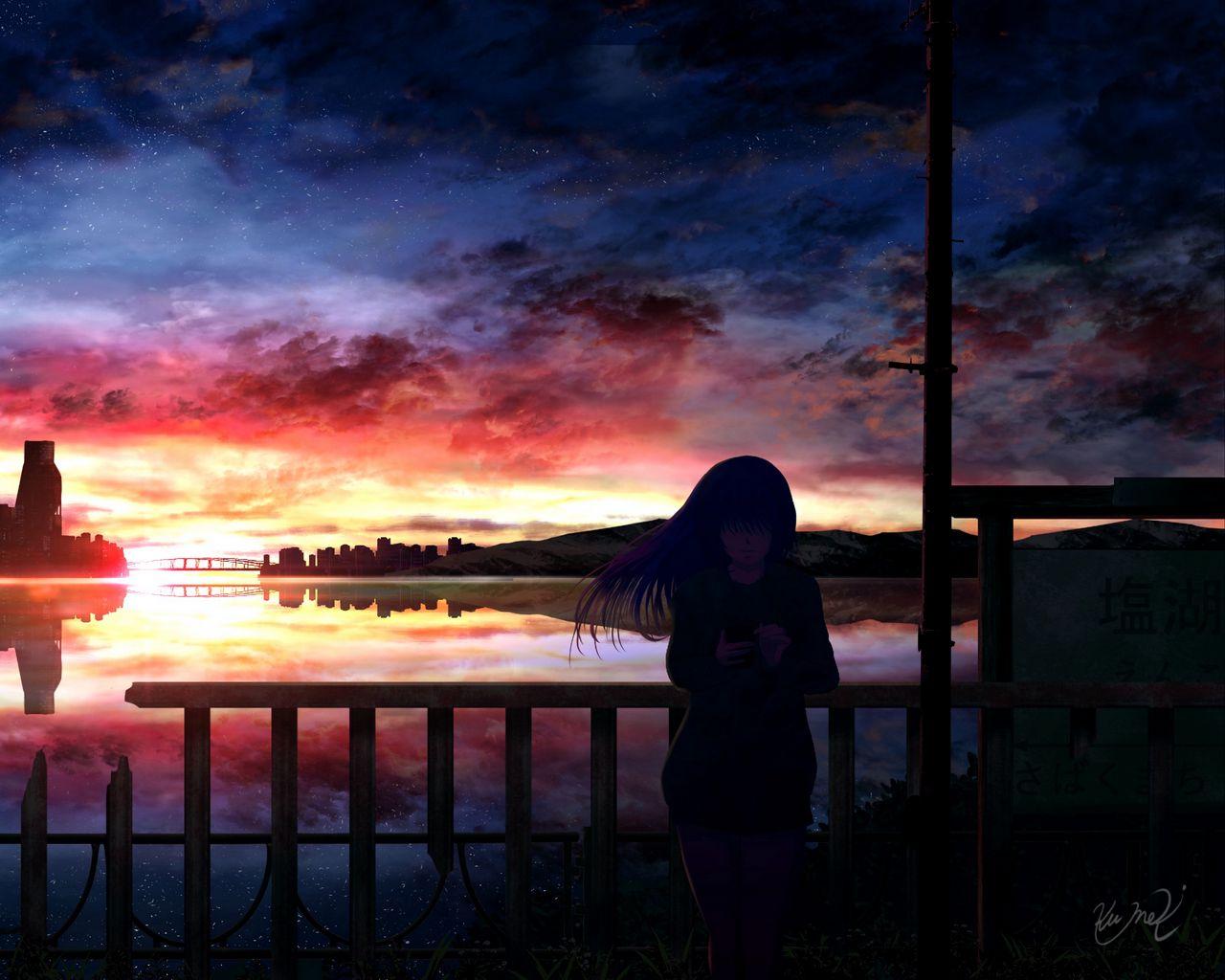 1280x1024 Wallpaper silhouette, night, starry sky, girl, anime