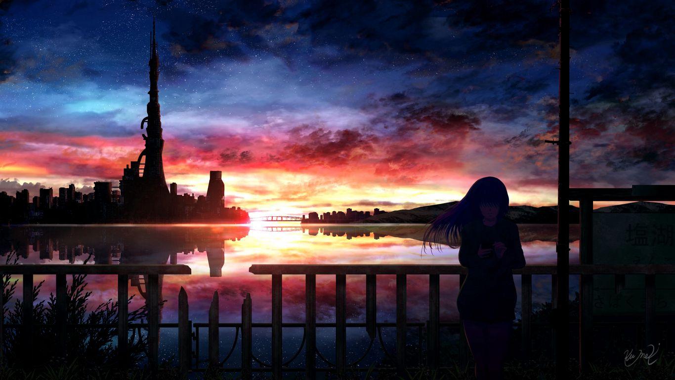 1366x768 Wallpaper silhouette, night, starry sky, girl, anime