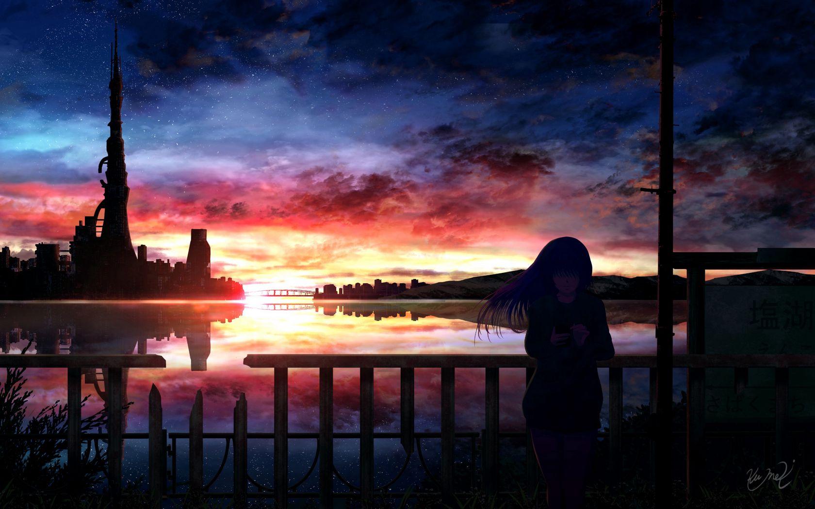 1680x1050 Wallpaper silhouette, night, starry sky, girl, anime