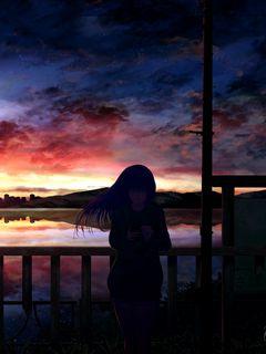 240x320 Wallpaper silhouette, night, starry sky, girl, anime
