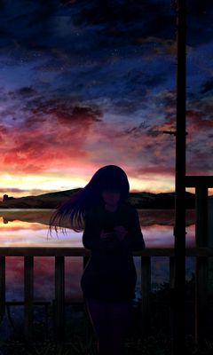 240x400 Wallpaper silhouette, night, starry sky, girl, anime