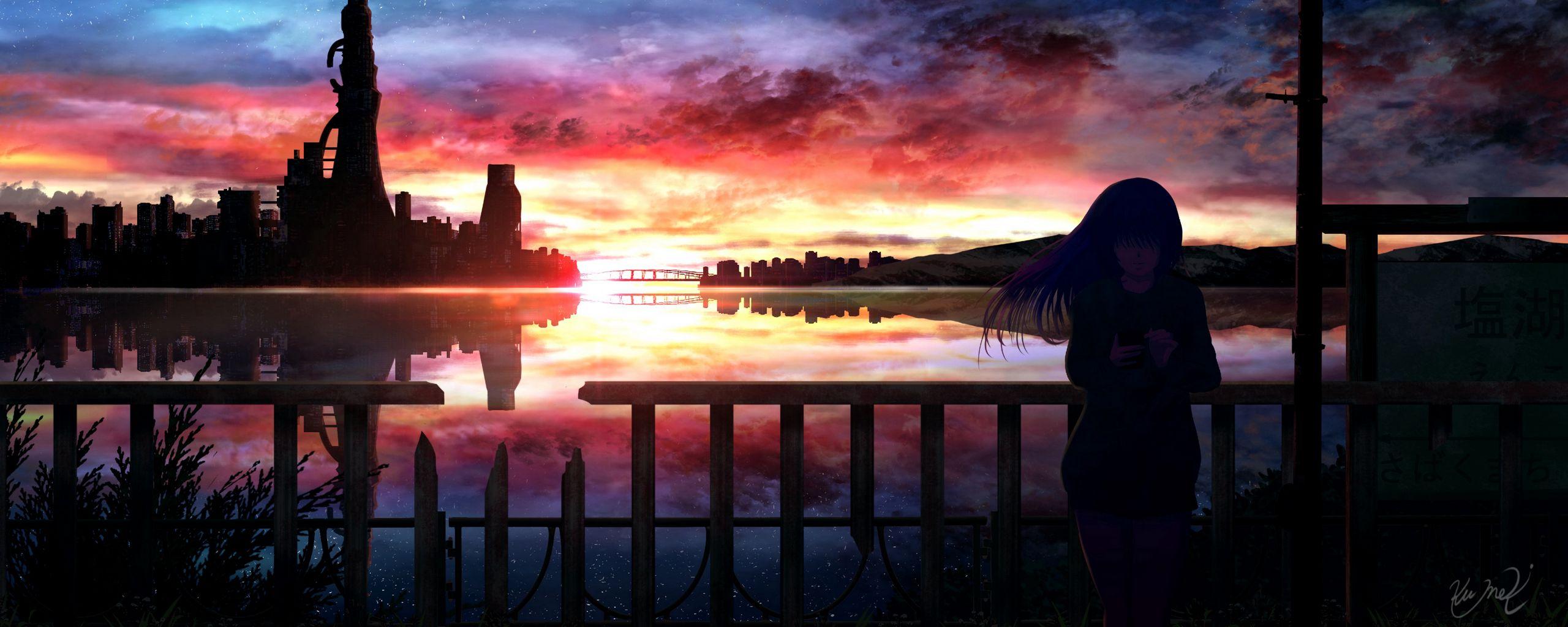 2560x1024 Wallpaper silhouette, night, starry sky, girl, anime