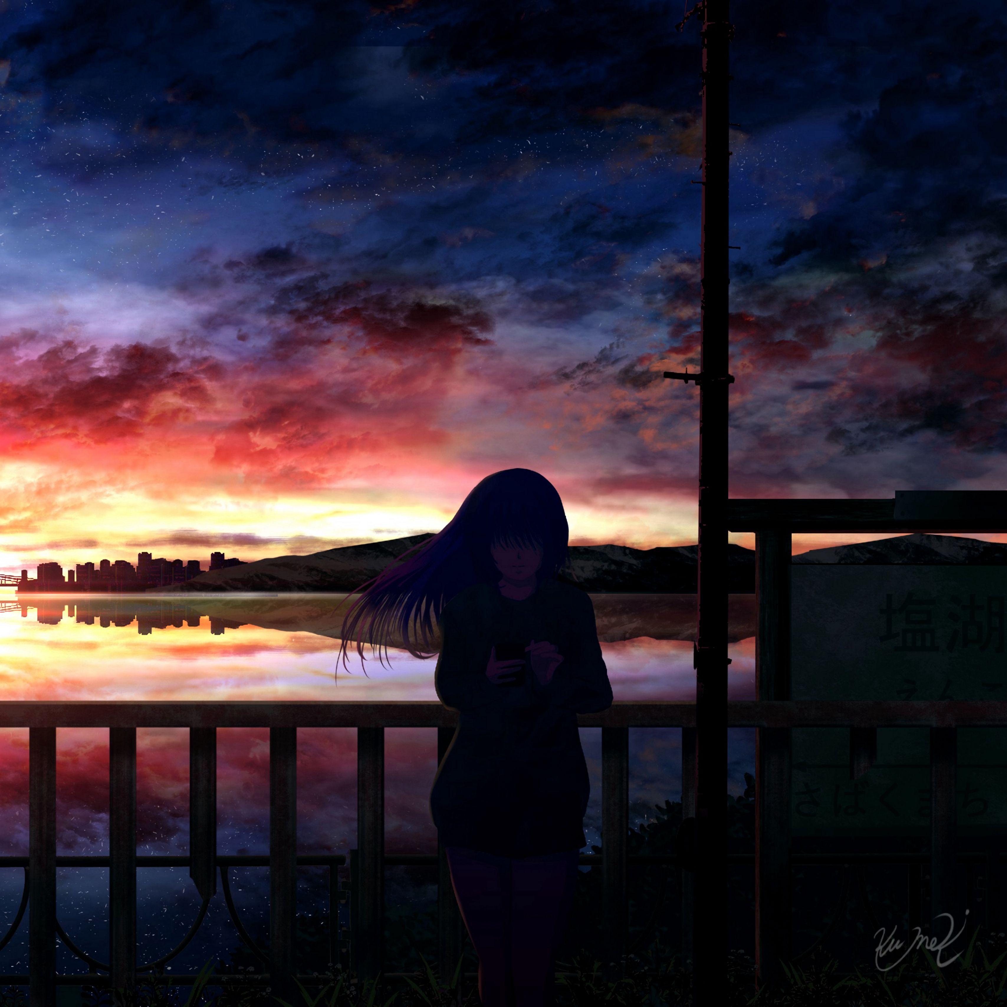 3415x3415 Wallpaper silhouette, night, starry sky, girl, anime