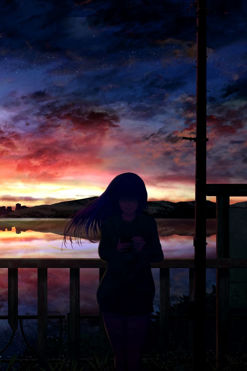 800x1200 Wallpaper silhouette, night, starry sky, girl, anime