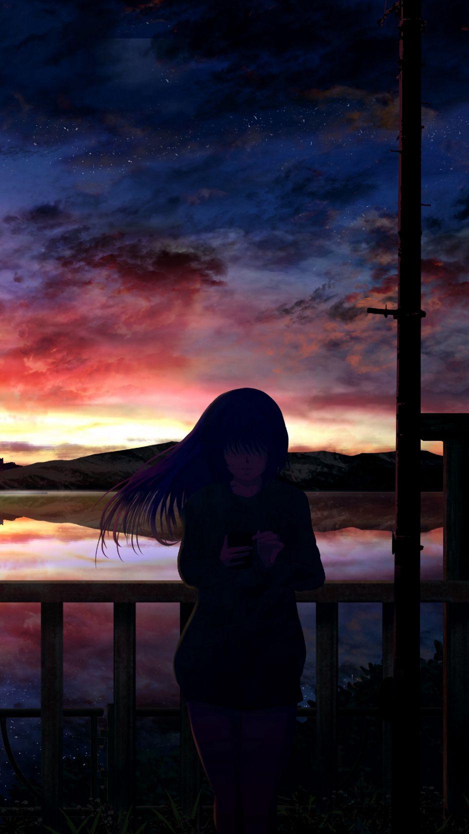 938x1668 Wallpaper silhouette, night, starry sky, girl, anime