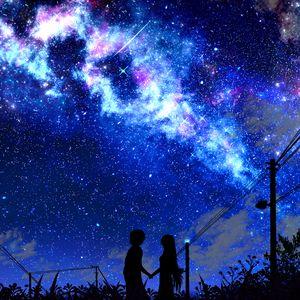 Preview wallpaper silhouette, night, starry sky, art, dark