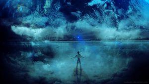 Preview wallpaper silhouette, planet, stars, art, fantastic