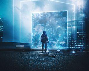 Preview wallpaper silhouette, portal, light, bright, illusion