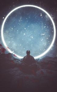 Preview wallpaper buddha, meditation, buddhism, circle, glow