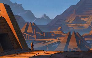 Preview wallpaper silhouette, ruins, art