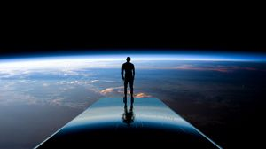 Preview wallpaper silhouette, space, planets, atmosphere, glow, view