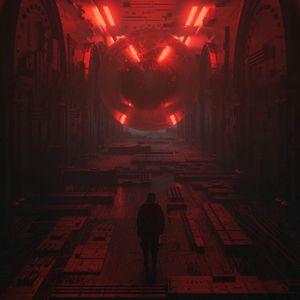 Preview wallpaper silhouette, space, sci-fi, fantasy, cyberpunk, future
