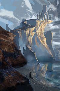 Preview wallpaper silhouette, staff, rocks, snow, art