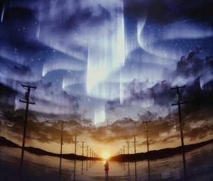 Preview wallpaper silhouette, starry sky, pillars, horizon, sky, art