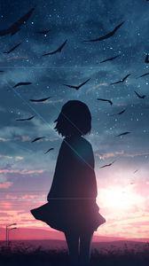 Preview wallpaper silhouette, sunset, birds, twilight, art