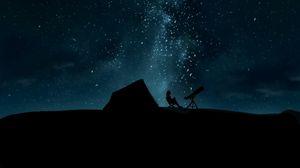 Preview wallpaper silhouette, telescope, starry sky, night, dark
