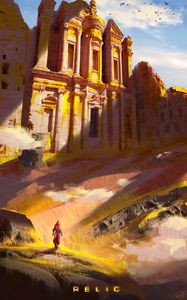 Preview wallpaper silhouette, temple, ruins, relic, art