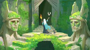 Preview wallpaper silhouette, torch, bird, ruins, fantasy, art