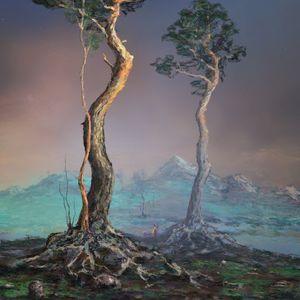 Preview wallpaper silhouette, trees, mountains, landscape, twilight, art