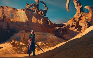 Preview wallpaper silhouette, warrior, canyon, art