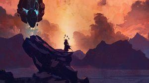 Preview wallpaper silhouette, warrior, sword, rock, fantasy, art