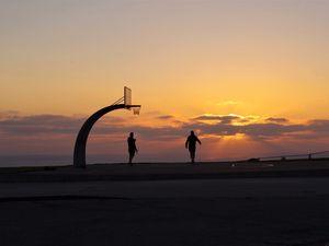 Preview wallpaper silhouettes, basketball hoop, basketball, sport, sunset