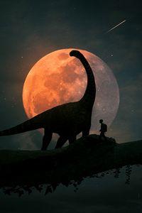 Preview wallpaper silhouettes, dinosaur, planet, photoshop, art