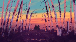 Preview wallpaper silhouettes, hugs, art, trees, nature
