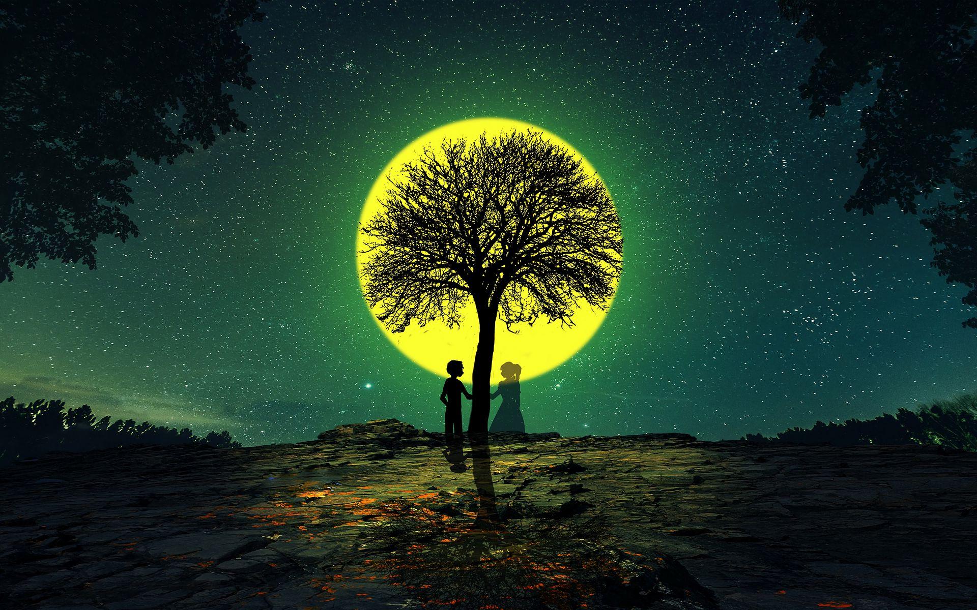 1920x1200 Wallpaper silhouettes, love, tree, night