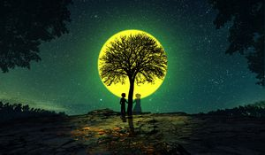 Preview wallpaper silhouettes, love, tree, night